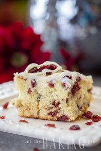 Cranberry Bliss Coffee Cake {Moist Coffee Cake with White Chocolate, Cranberries and Cream Cheese Glaze - a perfect dessert or breakfast!}