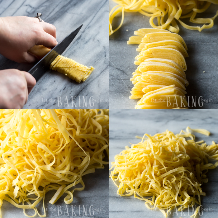 How to cut the homemade pasta into thin strands.