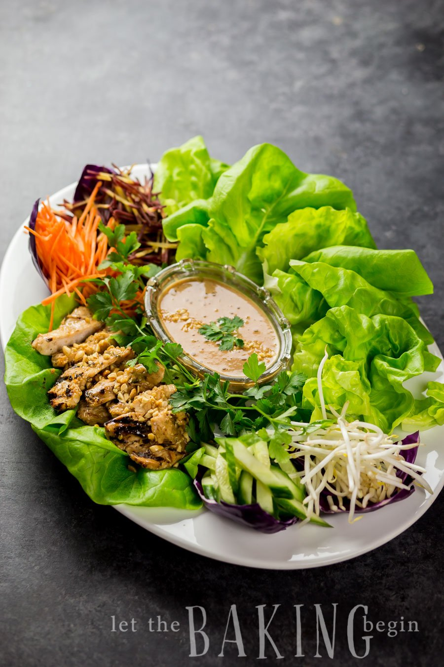 A plate with a lettuce, Thai chicken, peanut sauce and toppings.