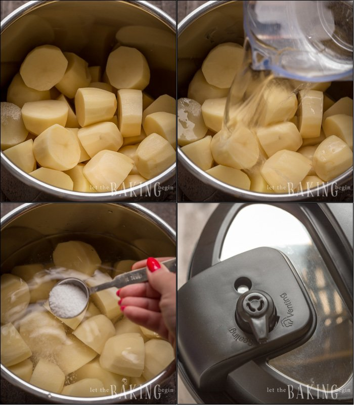 How to place potatoes in an instant pot, add water and salt and close the instant pot.