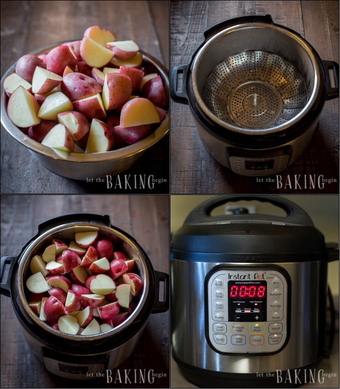 Visual directions for how to make breakfast potatoes in the Instant Pot.