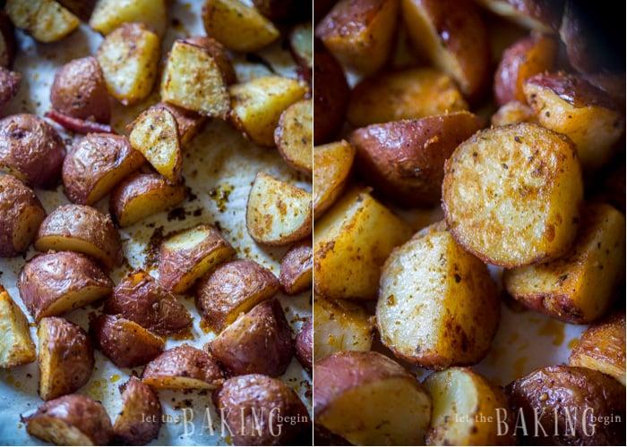 Close up of seasoned roasted breakfast potatoes on baking sheet.