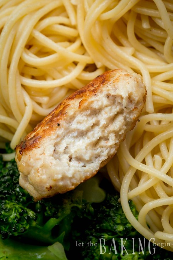 Chicken Meatball with pasta and broccoli.