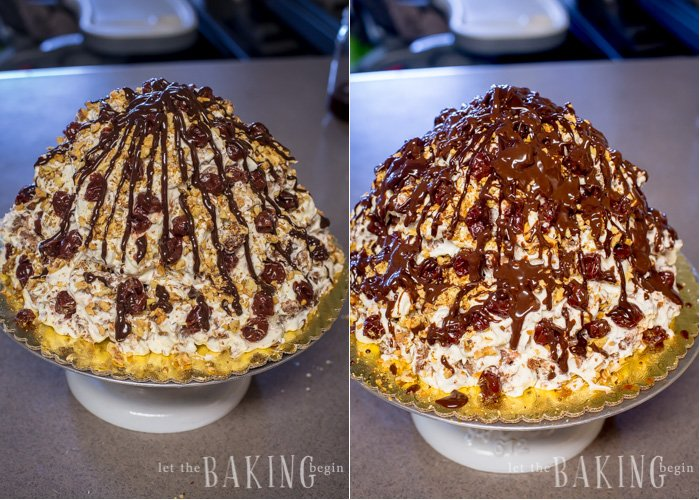 How to drizzle the prepared chocolate ganache all over the top of the cake.