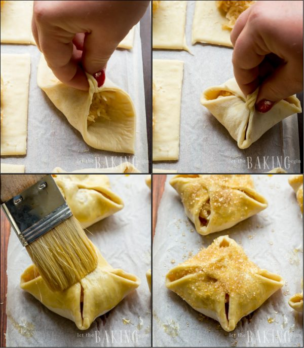 How to make apple turnovers and form them correctly.