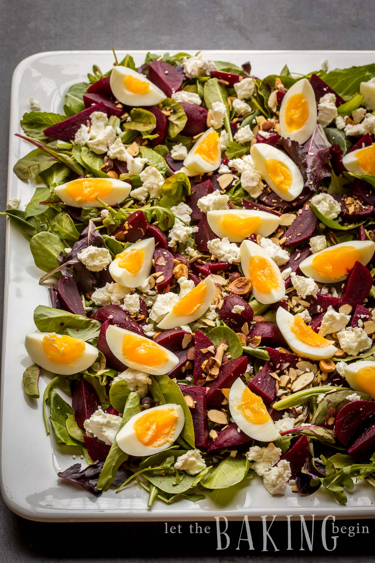 Beet and Goat Cheese Salad with Egg is served on a bed of Spring Mix Salad, then sprinkled with Goat Cheese, Hazelnuts and Egg.