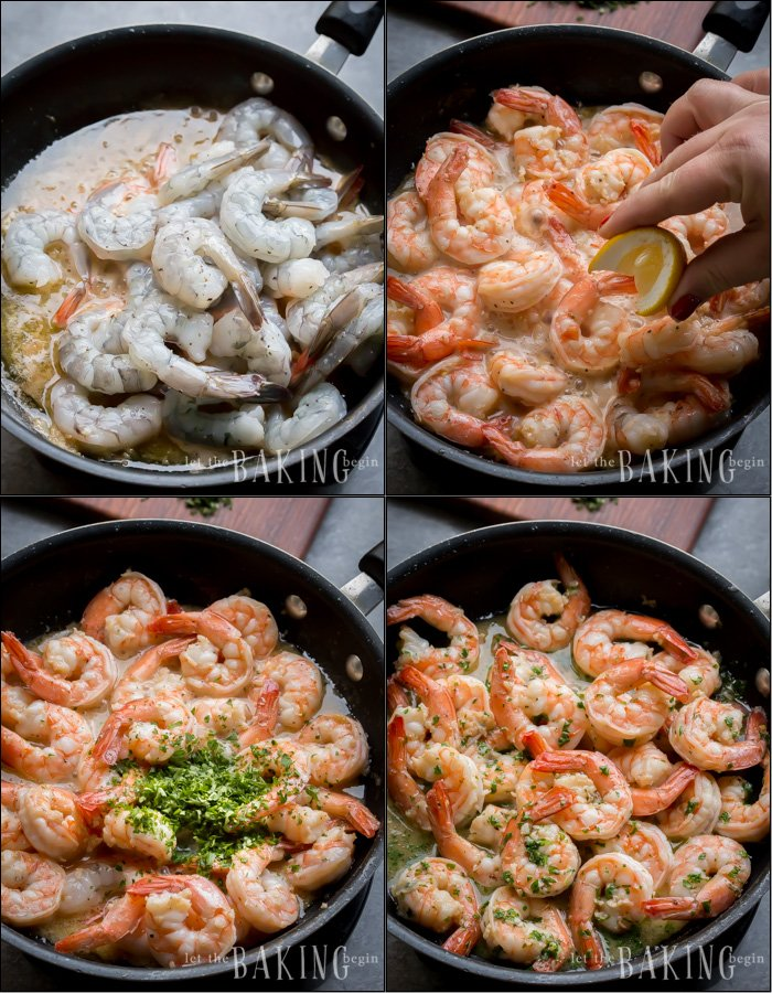 Shrimp Scampi is made of shrimp or prawns that are cooked in butter and wine sauce with lots of garlic and fresh parsley. The sauce that surrounds the shrimp is absolutely amazing. You will want to soak up every little tiny bit of it with some good crusty bread!