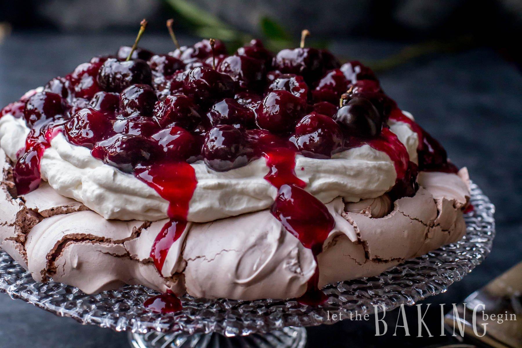 Chocolate Cherry Pavlova - perfect Father's day Dessert