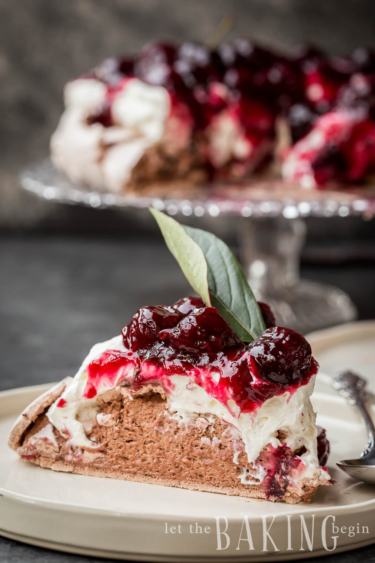 Chocolate Cherry Pavlova Slice - cake has marshmallowy texture on the inside.