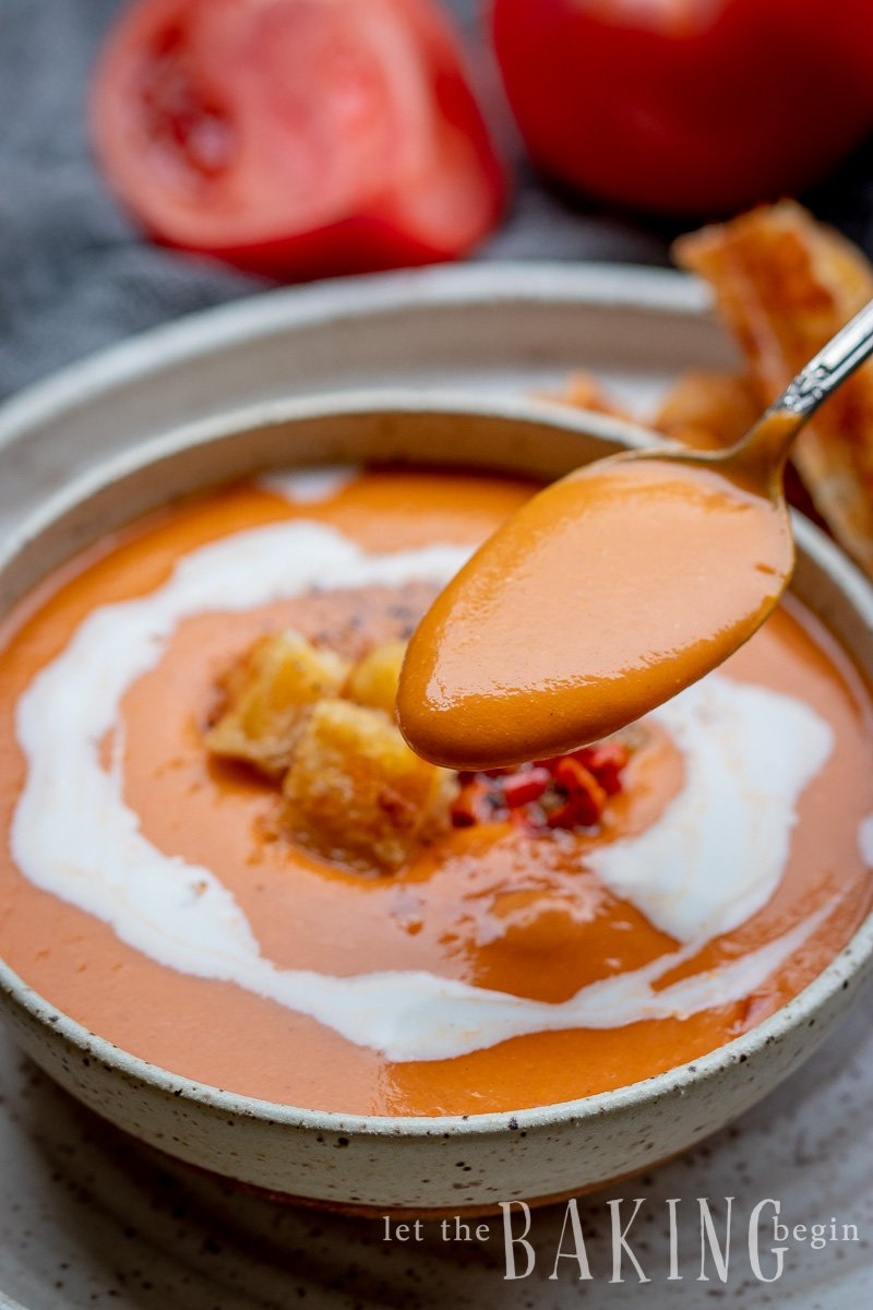 Roasted Tomato soup is made with simple ingredients, that combined give one of the best tomato soups you will ever have. The grilled peppers and roasted garlic are what takes this soup to the next level.