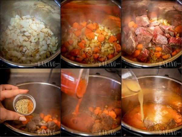 Step by step photos from sautéing the onion to adding the stock over the meat.
