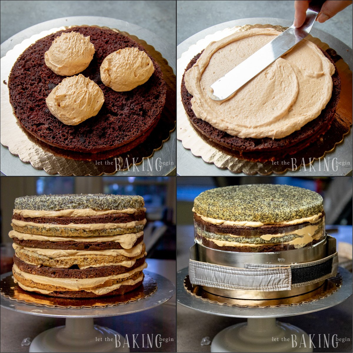 Step by step process of layering the Russian Royal Cake