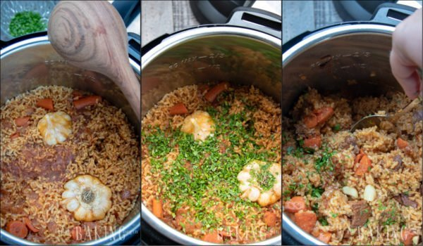 Finishing step by steps for making beef plov.