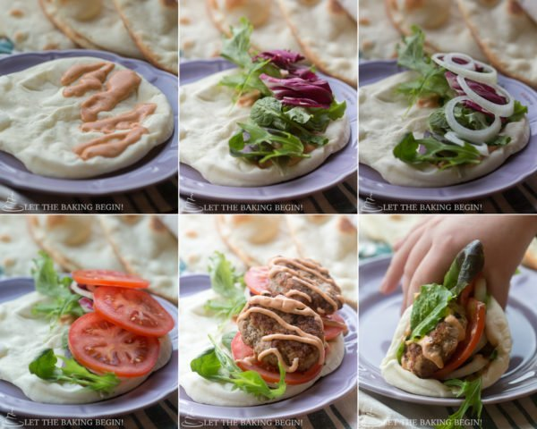 Visual step by step directions for building a sandwhich with pita bread.