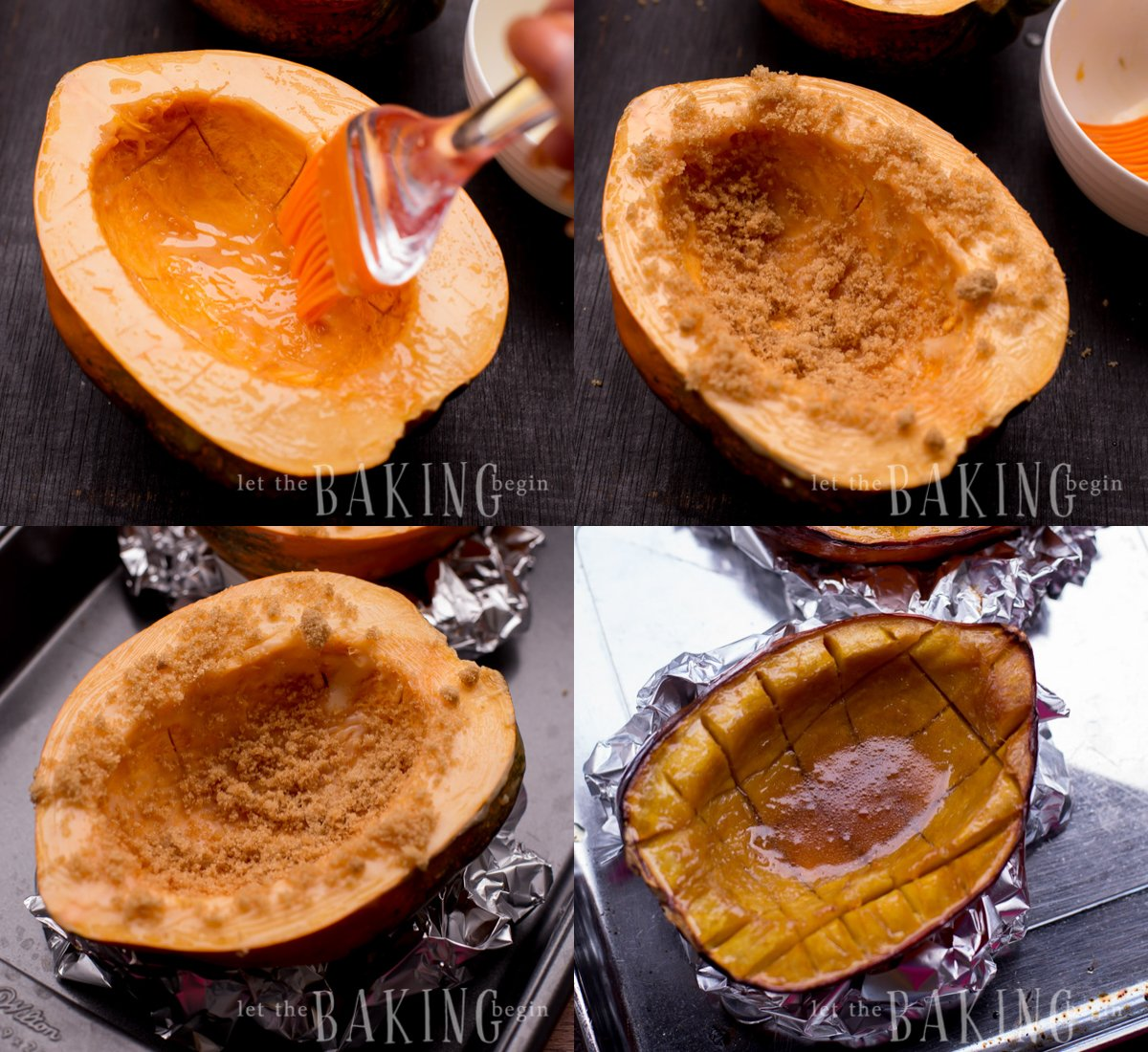 Brushing halves of Acorn Squash with melted butter and sprinkling with brown sugar.