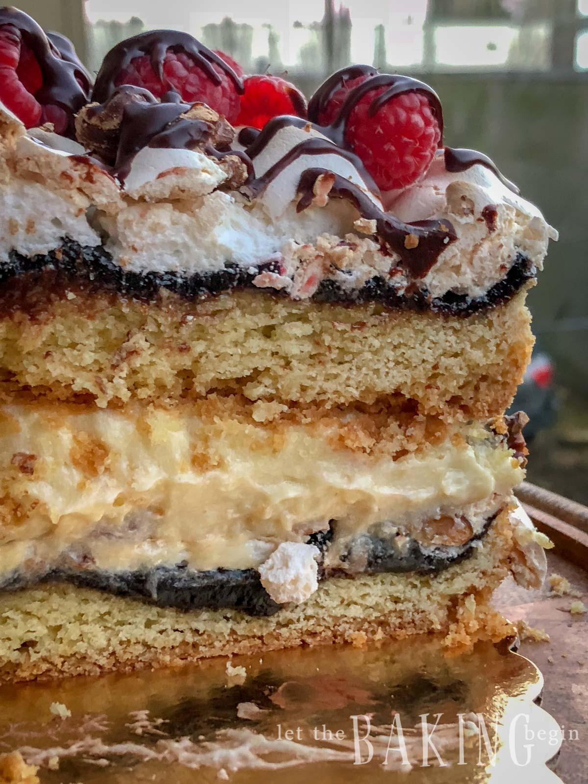 Popular Polish Cake made with Shortbread cake layers, plum jam, meringue, walnuts and custard.