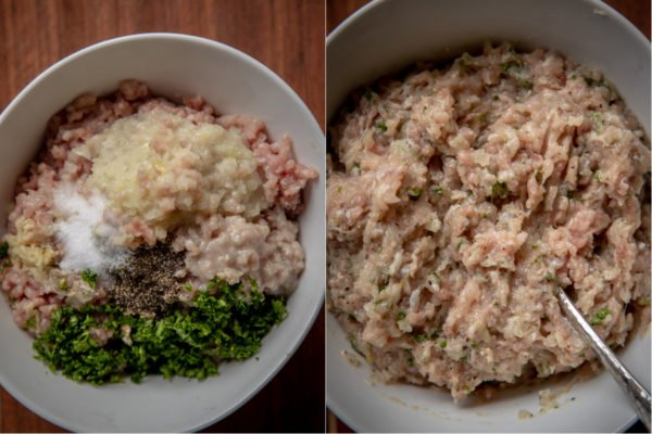 ground chicken mixture that is used as pelmeni filling - important part of how to make pelmeni