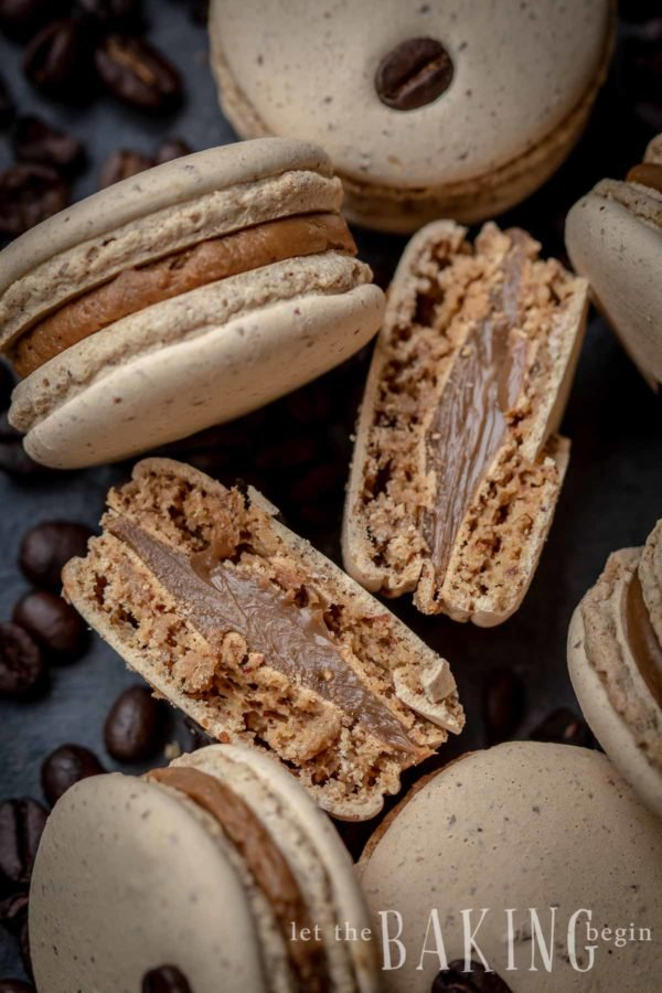 The coffee macaron shells start out with a simple gluten-free Italian Macaron batter, to which I added some instant coffee powder. Combined with a smooth white chocolate coffee ganache, these macarons are by far the best I've had!
