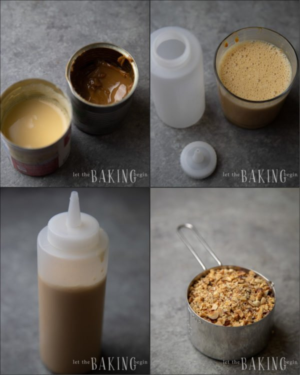 How to make a soaking syrup for a dulce de leche cake.