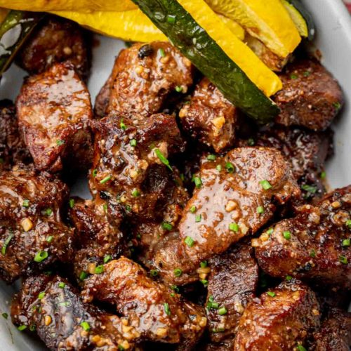 Airfryer Steak Bites and Asparagus - 10 minutes and dinner could be on the table.