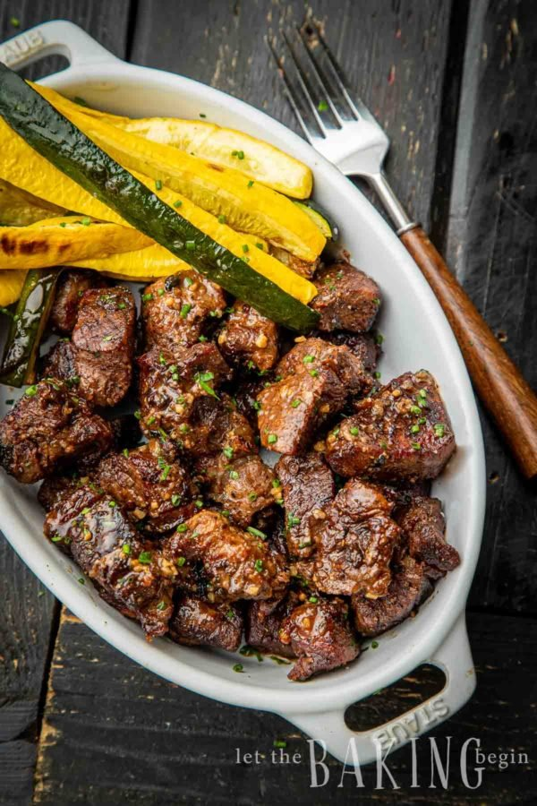 Air Fryer Steak Tips on a plate with zucchini