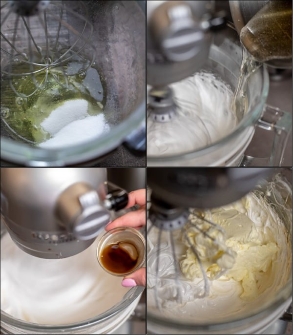 Step by step pictures from whipping the meringue, to adding the butter and syrup to make the homemade marshmallow - ptichye moloko.