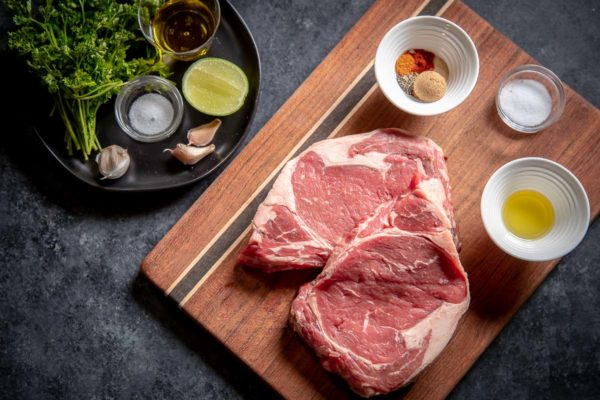 Ingredients for the Steak and Chimichurri laid out.