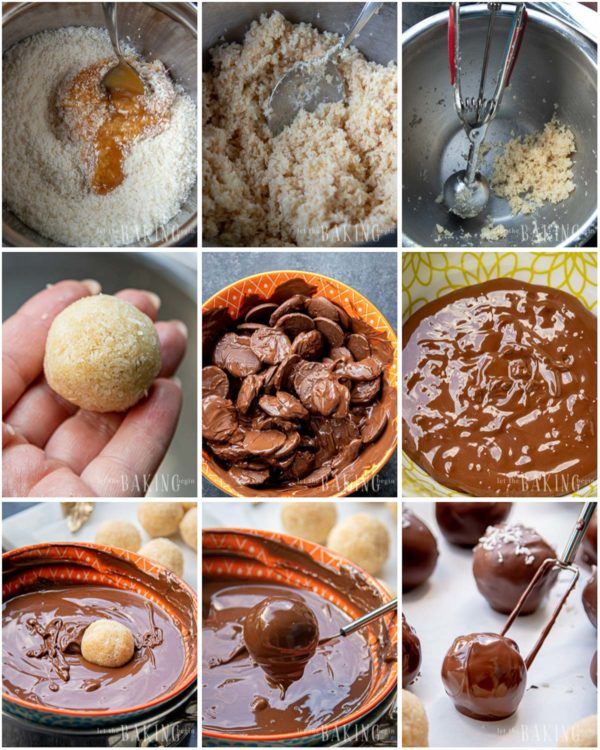 Visual step by step directions of how to make coconut candy.