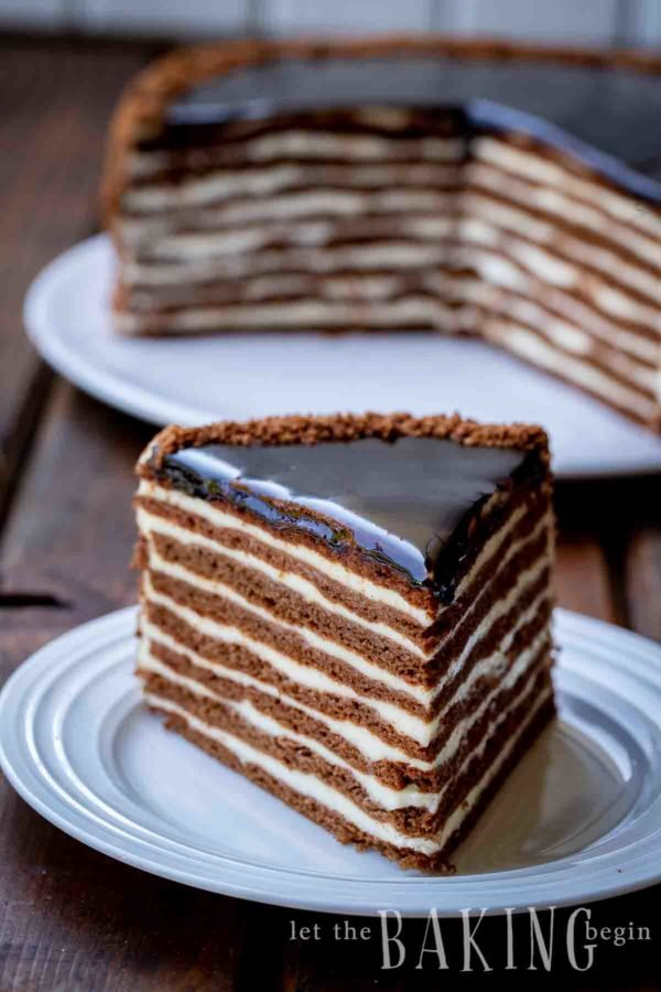 Slice of chocolate honey cake with eight layers of chocolate cake and alternating cream filling layers.