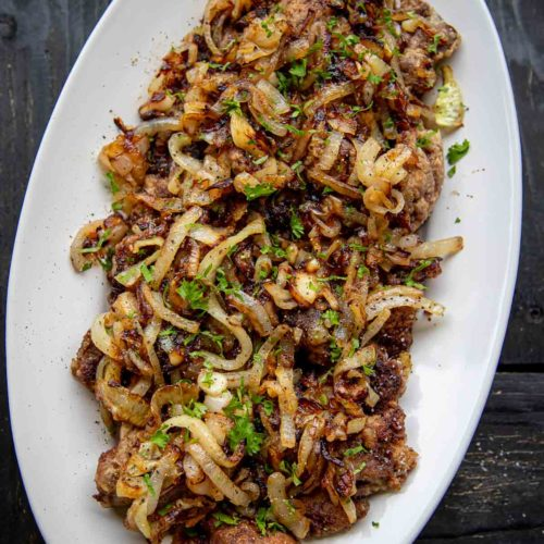 Fried Chicken Liver with fried onion