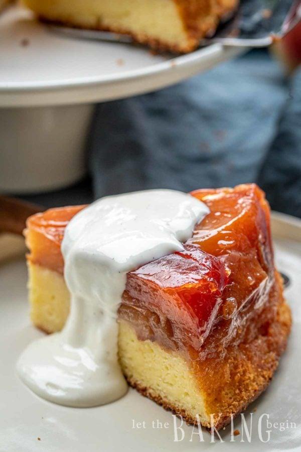 A slice of apple cake recipe with fresh cream