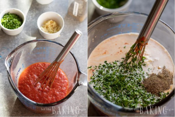 Visual instructions for elevating a vodka sauce with different ingredients.