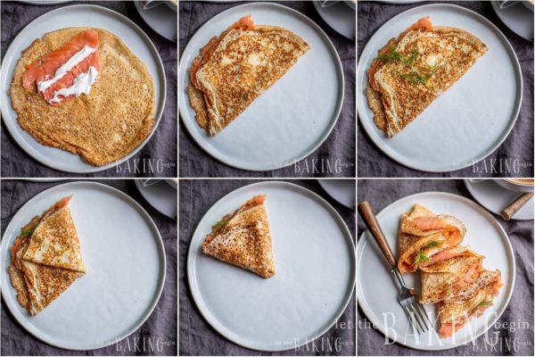 Visual step by step directions for filling blinis with smoke salmon.