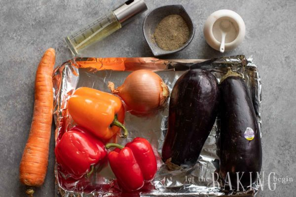 Ikra ingredients on a baking dish