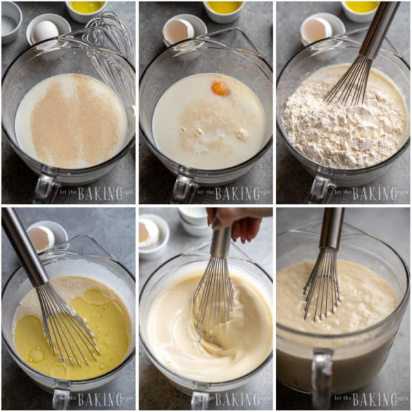 Visual step by step directions for making blini batter