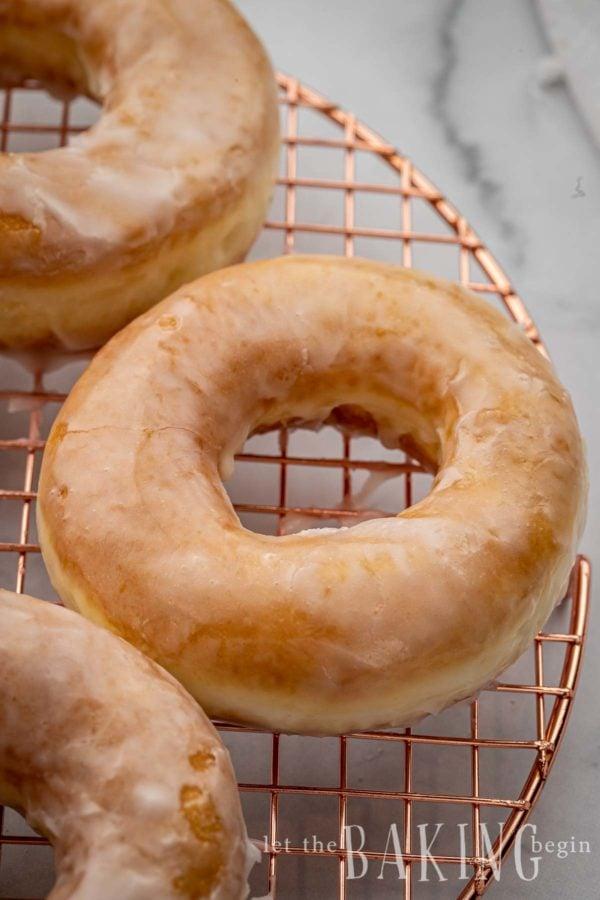 Close up of glaze made from a krispy kreme donut glaze recipe