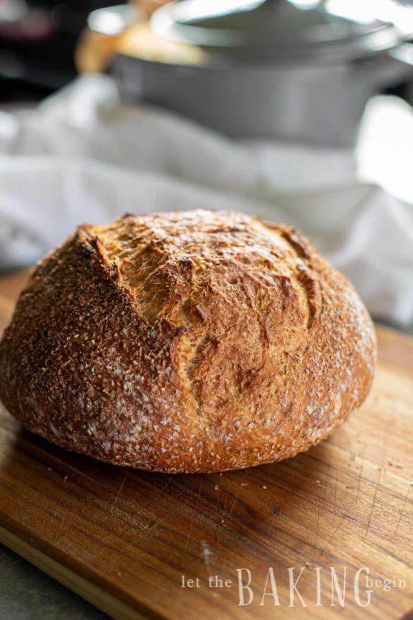 Homemade bread recipe on a cutting board