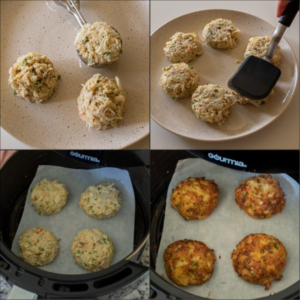 Visual step by step directions for how to make crab cakes into a round form.