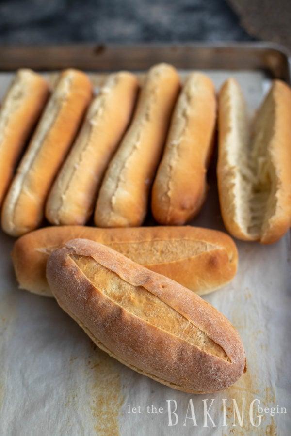 Hoagie roll recipe made on a baking sheet