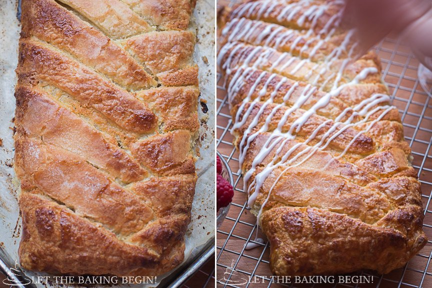 How to top puff pastry braid with powdered sugar glaze on a cooling rack.