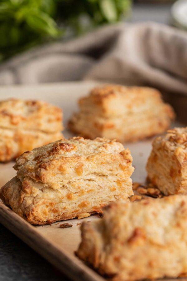 Freshly baked cheddar biscuits