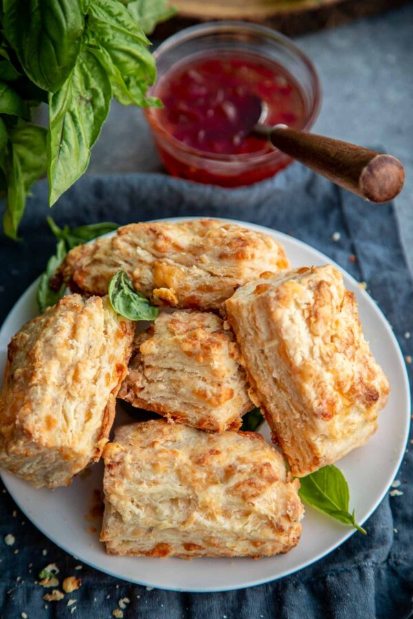 Cheddar biscuit recipe next to spicy pepper jelly