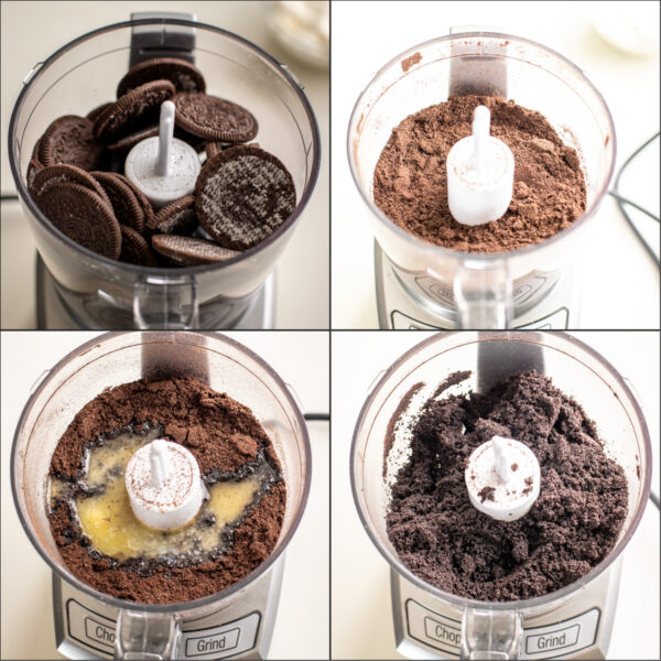 Step by step directions showing how to make an oreo crust for an Instant pot cheesecake