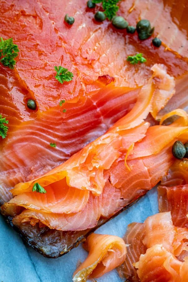 close up of cold smoked salmon recipe