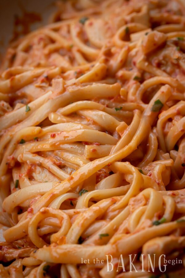 close up of noodles coated with a red creamy pasta sauce