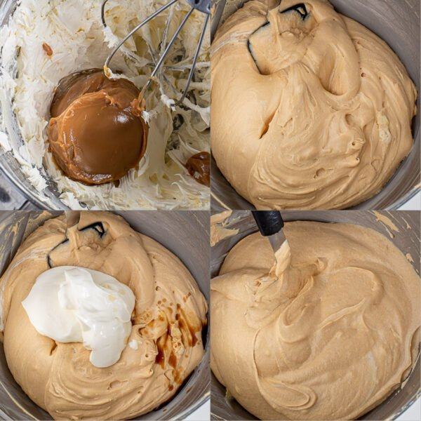 Step by step process of making the dulce de leche filling.