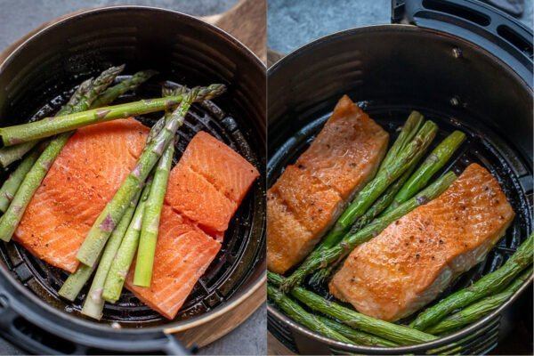 Step by step process shots of before and after cooking of salmon and asparagus in the air fryer.
