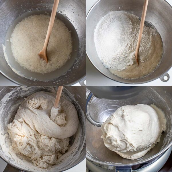 Step by step process shots of making the bagel dough.