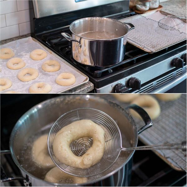 Step by step pictures for boiling the bagels.