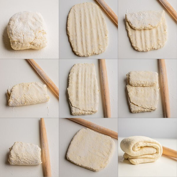 Step by step visual directions for making puff pastry